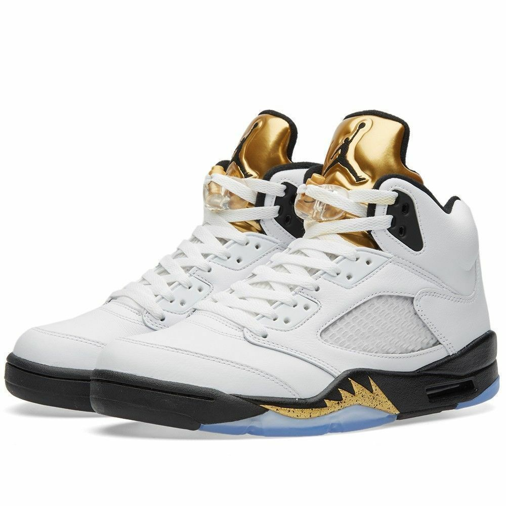 New Air Jordan V 5 Retro Gold Coin Olympic Medal Weiß Größe 18 136027 133