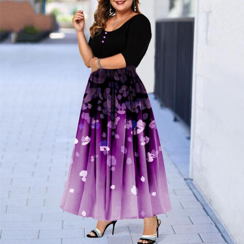 Plus Size Women Floral Short Sleeve Maxi Dress Ladies Casual Party Swing Dresses
