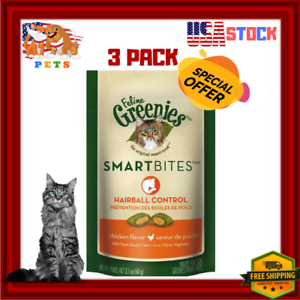3-PACK-Feline-Greenies-Cat-Treats-SMARTBITES-Hairball-Control-Chicken-2-1-oz
