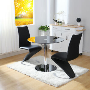 Glass Round Dining Table Set 2 4 Chairs Faux Leather Modern Chrome Chrome Base Ebay