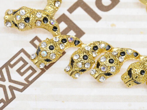 Statement Necklace Gold  Leopard Tiger Clear Black Crystal Clip On Earrings Set