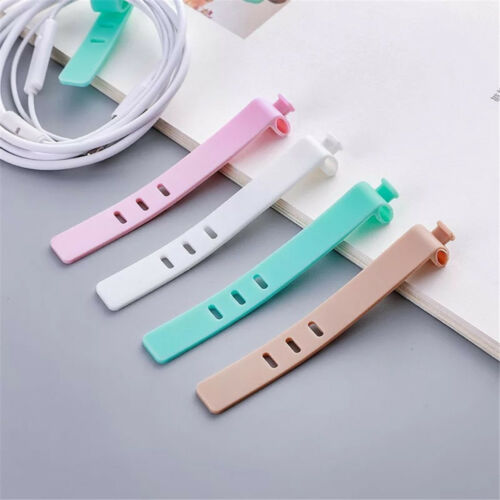 8pcs Solid Color Cable Winder Wire Data Line Holder Cable Organizer Line Fixer