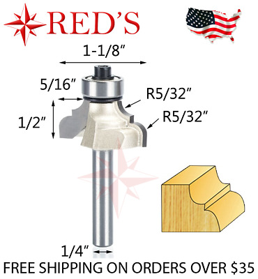 """NEW  Yonico 5//32/"""" R Roman Ogee Carbide Tip Router Bit 1//4/"""" Shank Guide y2 1"""