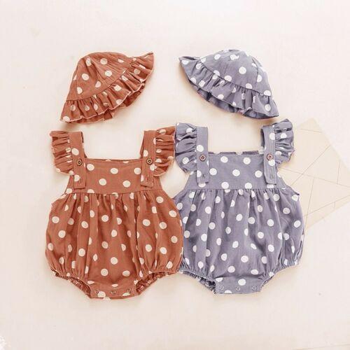 Infant Baby Boys Girls Sleeveless Ruffles Polka Dot Romper Bodysuit Hat Sets