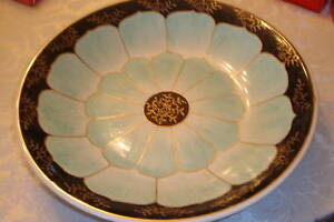 Nora Fenton Vintage Handcrafted by Artisans Large Bowl/black, turquoise,gold