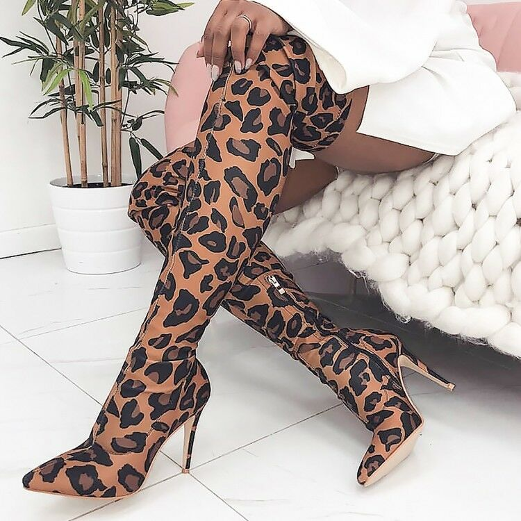Women Pointy Toe Leopard Pull On Stilettos Thigh Stretchy Over THe Knee Boots