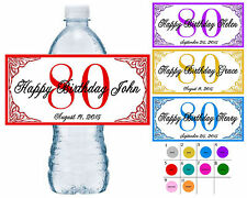 50 ~ 80th BIRTHDAY PARTY WATER BOTTLE LABELS ~ waterproof ink ~ assorted colors