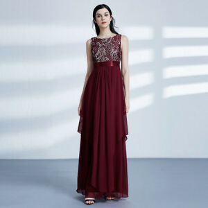 ab0fdf9cd61 Details about Ever-Pretty Long Chiffon Ruffles Burgundy Evening Gowns  Bridesmaid Dresses 08217