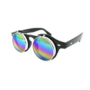 Steampunk Goggles Glasses Round Sunglasses Emo Retro Vintage Flip Up Cyber