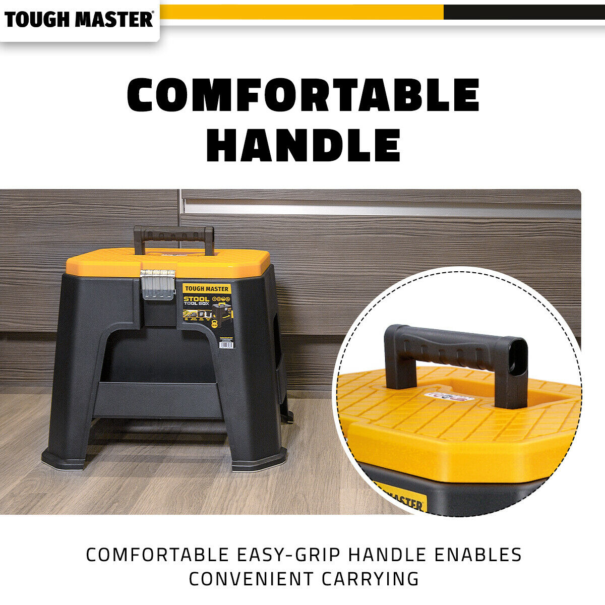 Tough Master Stool Tool Box With Removable Tray & Compartment