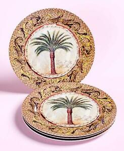 Image Is Loading Tropical Paradise Palm Trees Dinnerware Island Basket Weave