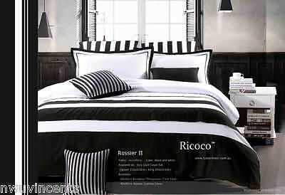 S39B Rossier II Black & White 3pc QUEEN / KING size duvet cover Quilt Cover Set