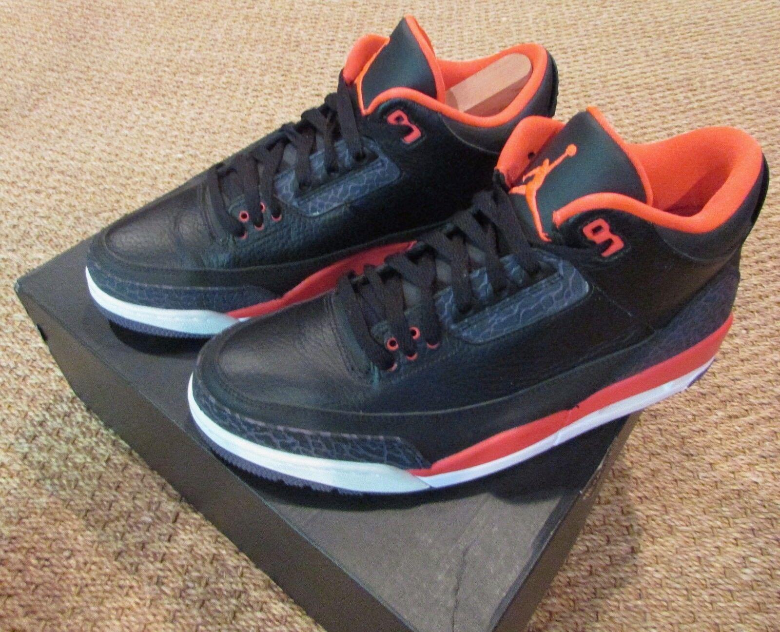 Nike Air Jordan 3 III Retro Black Crimson 136064-005 Mens shoes SZ 10.5