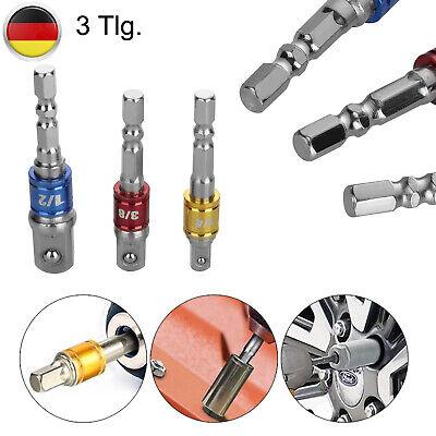 Bit Adapter 3tlg Stecknuss Nuss Halter Akkuschrauber Bohrmaschine 1//4+3//8 1//2