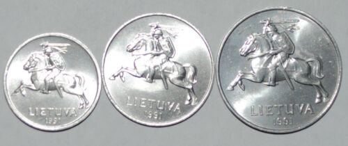 1991 Lithuania 1,2,5 Centai UNC set of 3 from bank bag