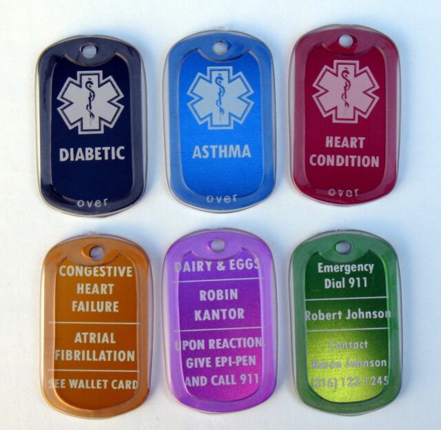Medical Alert Id Tag with SILENCER - Free Custom Engraving Personalization