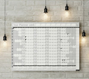 2018 Year Planner Wall Chart With 2019 Calendar Inc Holidays