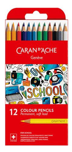 NEU Caran d/'Ache SCHOOL-LINE Farbstifte wasserfest 1291.712 12-er Kartonetui