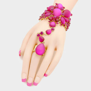 38dcc3a42 Image is loading FUCHSIA-amp-GOLD-CRYSTAL-BRIDAL-PROM-MARQUISE-FASHION-