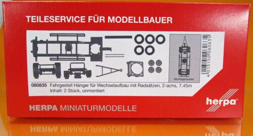 Herpa 080835 hängerfahrgestell para construcción de cambio con ejes 7,45m 2 x trozo