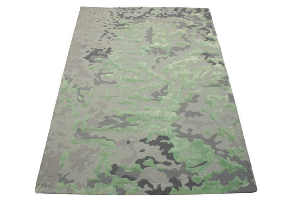 Tappeto 170x240 cm Lana e Viscosa FATTO A MANO verde GRIGIO