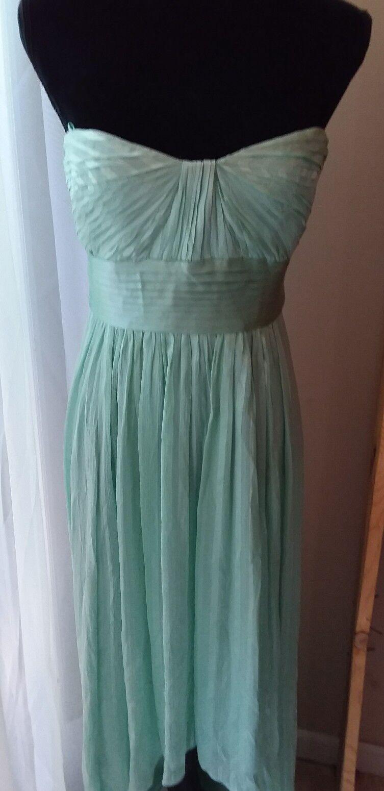 Bcbg Maxazria Alicia Dress 100% Silk Womens 8  Sleeveless Strapless Asymmetric