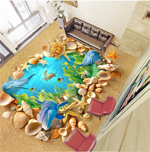 3D Dolphin Turtle Shells 79 Floor WallPaper Murals Wall Print Decal 5D AU Lemon
