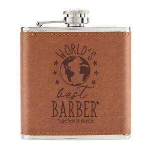 World-039-s-Best-Barbier-170ml-Cuir-PU-Hip-Flasque-Fauve-Worlds-Best-Prefere-Drole