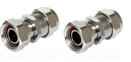 """2 X NEW TAP CONNECTORS CHROME PLATED  22 mm x 3//4/"""" straight Washer included."""