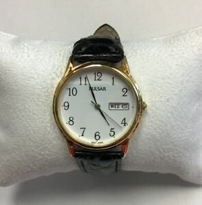PULSAR-Unisex-Gold-Stainless-Steel-Black-Leather-Strap-WATCH-PXN080