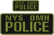 NYS OMH Police embroidery patch 4X10 and 2x5 hook ON BACK od green