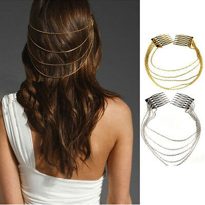 1pc Lady Punk Rock Boho Comb Style Chain Tassels Fringes Hair Cuff Pin Head Band