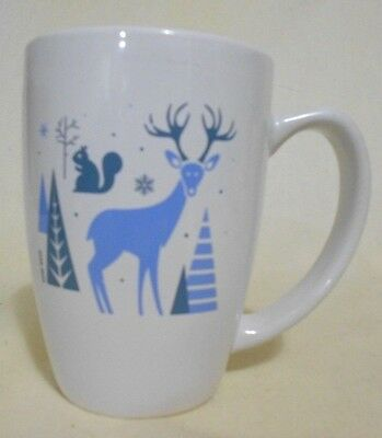 Tully's Coffee Christmas Reindeer Squirrel White Blue Ceramic  Mug  12 oz 5 ""
