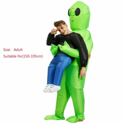 Halloween Adult Inflatable Costume Green Alien Carrying Human Cosplay