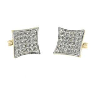 54d48cc133c Details about Men's Ladies kite Square Real 10k Yellow & White Gold Flat  9mm Cz Stud Earrings