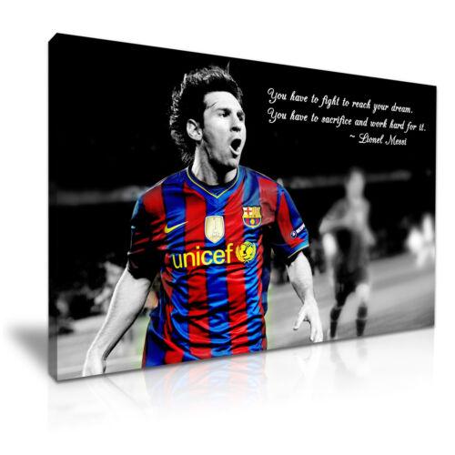 Lionel Messi Barcelona FC Quote Canvas