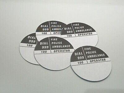 5 x GPO 746 BLACK//WHITE ROTARY TELEPHONE DIAL NUMBER CARD INSERTS