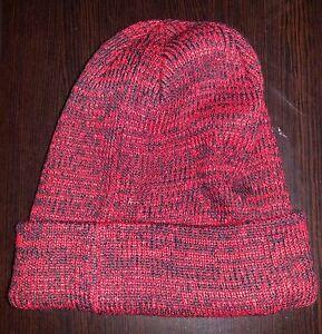 Sean John Marled Red Knit Cuff Beanie One Size Fits Most