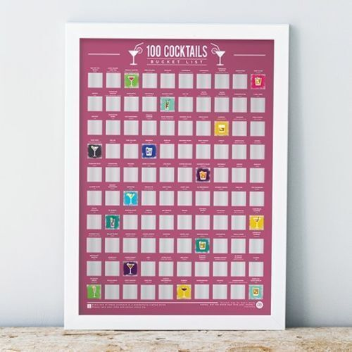 100 Cocktails Bucket List Scratch Off Poster A2 Gin Vodka Tequila Gift