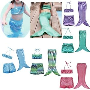 4c229a7d Image is loading UK-Girl-Mermaid-Swimming-Costume-Kids-Baby-Mermaid-