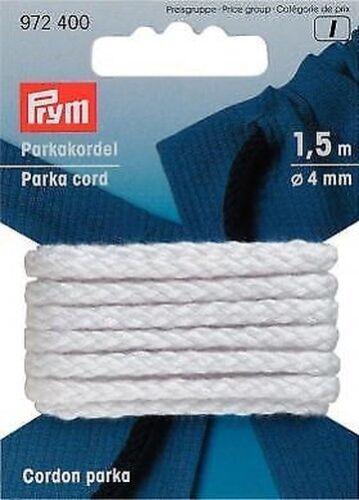 Prym 1,5m Parka Cordelette 4mm Blanc Ceinture de Cordon pour Insérer en 972400