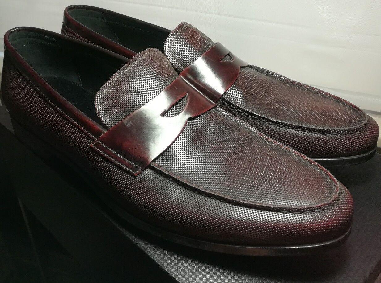 NEW Giorgio Armani ITALY Uomo Oxblood Pelle Penny Loafers Shoes US12 UK11  695