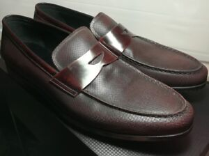 New Giorgio Armani Italy Mens Oxblood Leather Penny Loafers Shoes