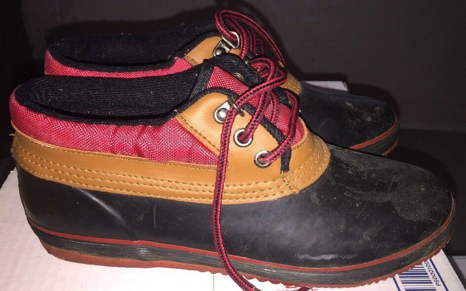 Chillmark Black & Red w/Brown Leather Lace Up Rubber Mud Duck Boots Size 9 M EUC