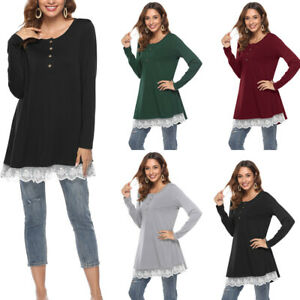Women-Lace-Long-Sleeve-Button-Neck-T-Shirt-Swing-Dress-Casual-Loose-Blouse-Tops