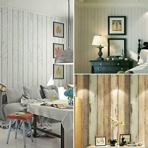 Details about 10M 3D Rustic Wood Plank Panelling Stripe Textured Wallpaper  Roll Home Decor AU
