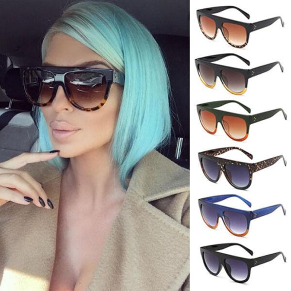 7ecf38c47f Flat Top Oversized Shadow Shield Women Designer Inspired Celebrity  Sunglasses