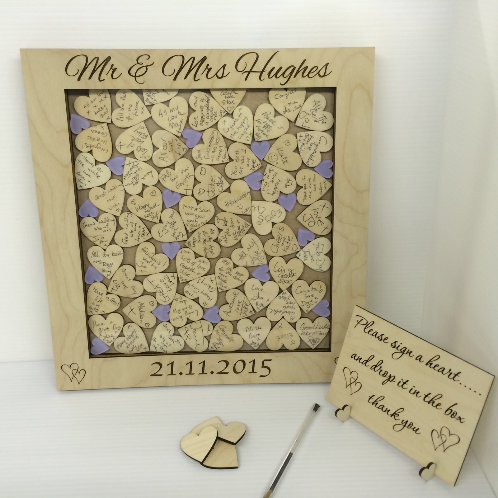 Personalised birch plywood lilac hearts drop box wedding guest book gift rustic