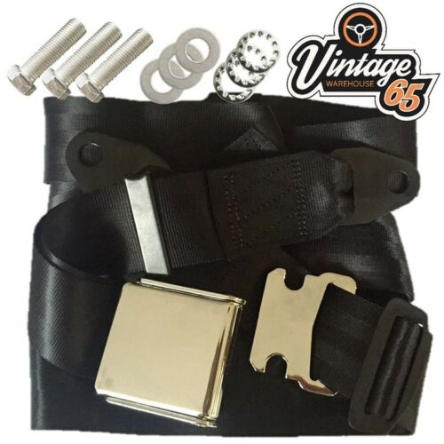 Classic Land Rover Chrome Buckle 3 Point Adjustable Static Seat Belt Kit Black