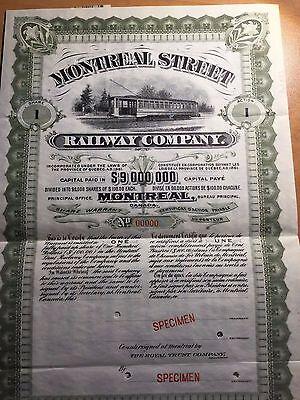 Montreal Street Railway Company 100$ Stock Bond Certificate 1900 Specimen